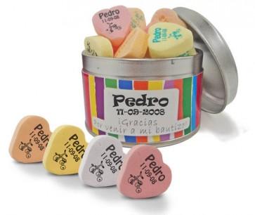 Caramelos de fruta en lata personalizada para Bautizo