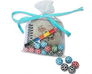 Bolsa libreta, chocolatinas y ceras