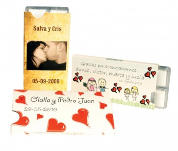 Chicles en blister personalizado para boda