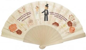 Abanico personalizado varillas de plástico para boda