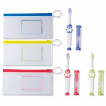 Bolsa, cepillo de dientes y temporizador para boda