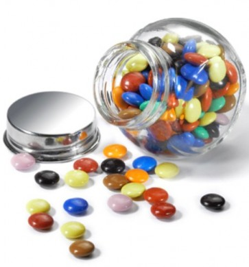Mini Chocolates en botecito de cristal para Bautizo