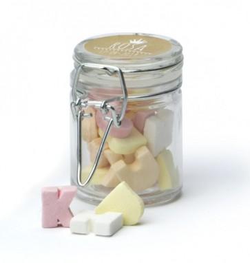 Caramelos letras en tarro de cristal