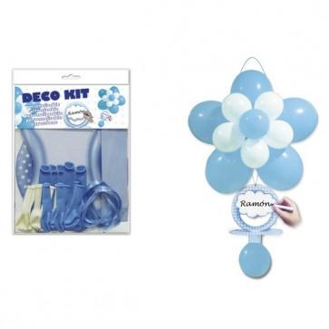 Kit chupete flor globos azul - Decoración bautizo