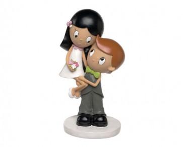regalos de boda - figura tarta nupcial pastel novios abrazados lalala