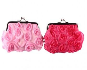 detalles de comunion - monederos rosas
