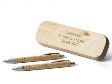 Estuche con Bolígrafo y Portaminas de madera grabados