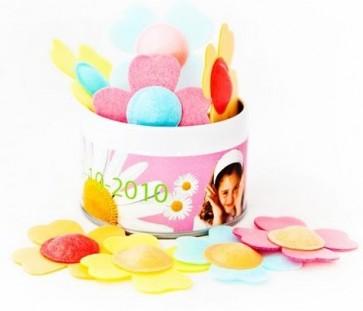 flores de oblea pica pica en lata personalizada para cumpleaños