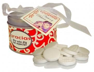 Lata Personalizable Caramelos Refrescantes para Boda