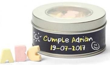Caramelos letras en lata especiera personalizada