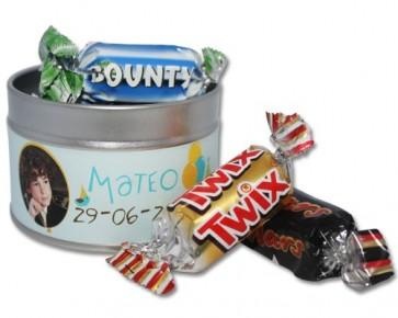 Latita personalizable rellena de chocolatinas