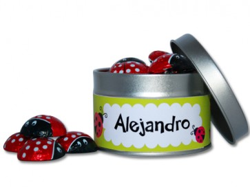 Mariquitas de Chocolate en lata personalizada