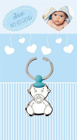 Llavero bebe chupete azul con tarjeton
