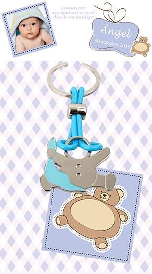 Llavero bebe pañuelo azul con tarjetón