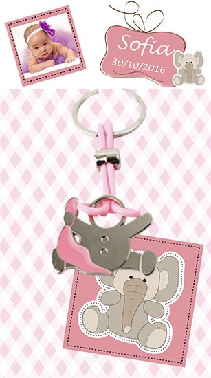 Llavero bebe pañuelo rosa con tarjeton