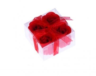 Estuche 4 rosas jabon rojo - Detalles de Comunión