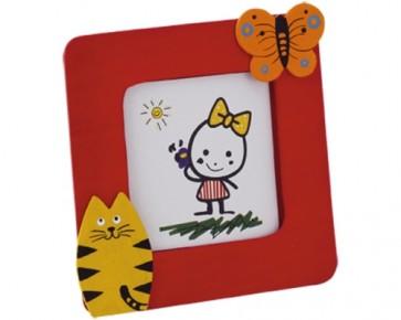recuerdos de boda - marco foto animales madera gato mariposa