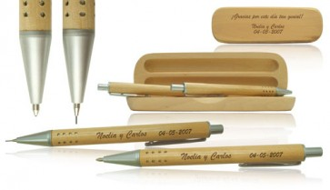 regalos de boda - estuche madera boligrafo y portaminas grabacion laser