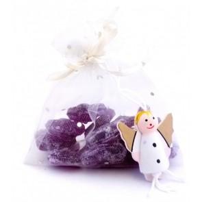 Caramelos Violetas en bolsita organza para Boda