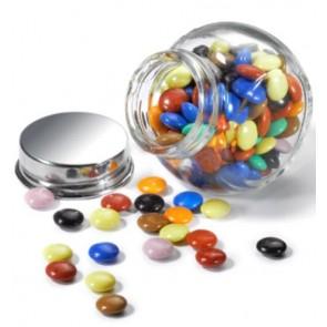 Mini Chocolates de Colores en botecito de cristal personalizado
