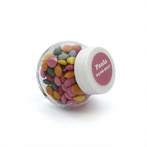 Botecito de cristal con mini chocolates de colores