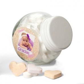 Caramelos en botecito de cristal para Bautizo