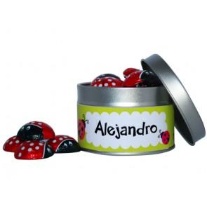 Mariquitas de chocolates en lata personalizada para Bautizo