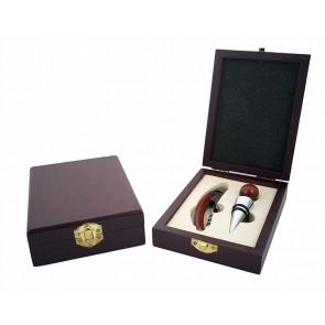 Elegante set de vino en caja madera para boda