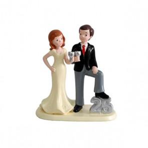 Figura tarta 25 aniversario pareja elegante