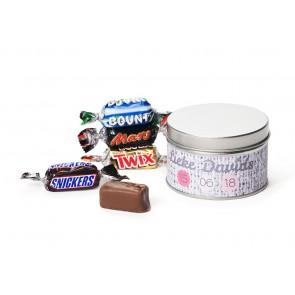 Mini Chocolatinas variadas en lata personalizada para Bautizo