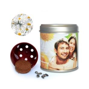 detalles boda - latita con semillas  margaritas