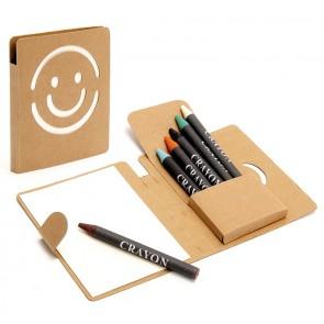 libreta sonrisa con ceras de colores