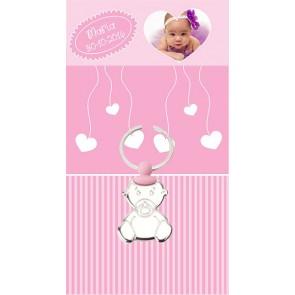 Llavero bebé chupete rosa con tarjeton