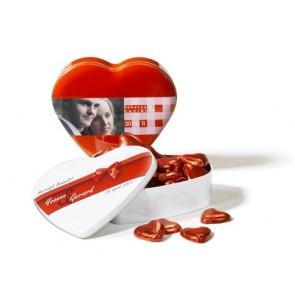 Original lata en forma de corazón con impresión