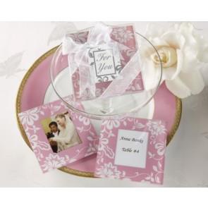 Recuerdos de bautizo - Posavaso rosa y blanco