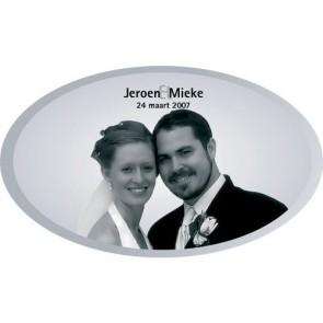 regalos de boda - espejo ovalo personalizado con foto