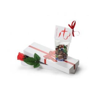 Rosa de jabón en caja de regalo con chocolates - Regalo de San Valentín