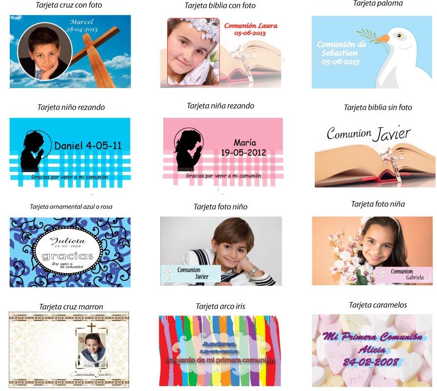 ejemplos tarjeta comunión