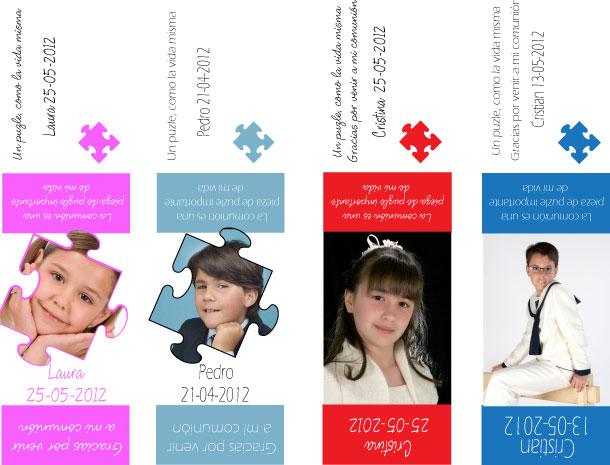 ejemplos tarjeton puzzle comunion