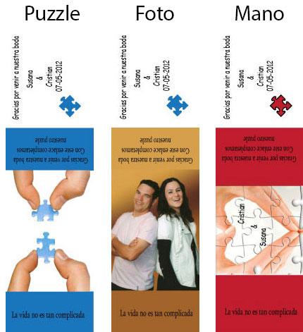 ejemplos tarjeta puzzle - detalles de boda